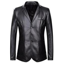 Menand039s Blazer Tailored Collar Two Buttons Slim Formal M-7xl Jacket Faux Leather L