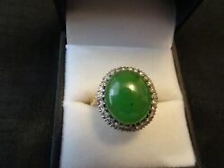 14k Yellow Gold Jade Ring With Diamonds--size--9 1/2