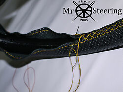 For 79-92 Jaguar Xj Perforated Leather Steering Wheel Cover Yellow Double Stitch