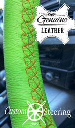 Yellow Stitch For Vw Van T5.1 Light Green Leather Steering Wheel Cover 10-15