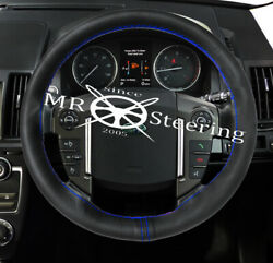 For Land Rover Discovery Lr3 04-16 Leather Steering Wheel Cover Blue 2 Stitch