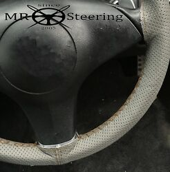 For 70+ Range Rover Grey Perforated Leather Steering Wheel Cover Brown Double St