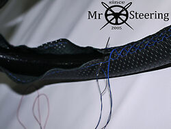 For 79-1992 Jaguar Xj Perforated Leather Steering Wheel Cover Blue Double Stitch