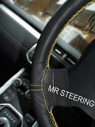 True Leather Steering Wheel Cover Yellow Double Stitch For Truck Volvo Vnl 670