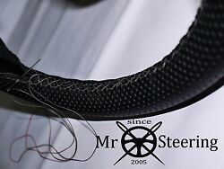 For Fiat 124 69-75 Perforated Leather Steering Wheel Cover Grey Double Stitching