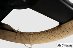 For Vauxhall Astra F 91-98 Real Beige Perforated Leather Steering Wheel Cover