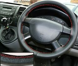 Fits Ford Transit Mk5 95-00 Real Italian Leather Steering Wheel Cover Red Stitch