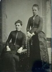 Antique Victorian Tintype Photograph Two Lovely Ladies With Button Front Dresses
