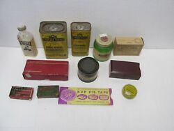 Vintage Various Medicine And Spice Tin Container Lot Of 12 Jrs229