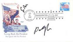 George H.w. Bush And Dan Quayle Dual-signed 1989 First Day Cover Beckett Bas