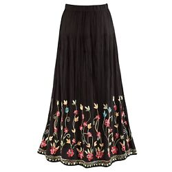 Catalog Classics Womenand039s Floral Embroidered Flowering Vines Maxi Skirt - Black