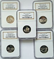2005- S Clad Proof State Quarter Five 5 Coin Set Ngc Pf70 Ultra Cameo-