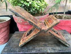 1700and039s Antique Wooden Hand Carved Original Painting Rare Shape Holy Book Stand