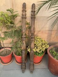 1700and039s Ancient Wood Hand Carved Mughal Period Pillars Columns Panel Stand Pair