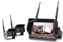 Wireless Dual Backup Camera 7and039and039 Dvr Split Screen Monitor For Trailer Rv Truck