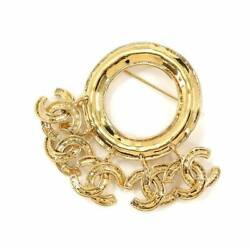 Coco Logos Round Type Brooch Gold Accessory 94p Vintage 90117917