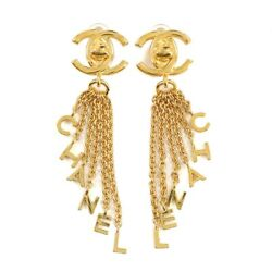 Coco Logos Chain Earrings Gold 96p Vintage Accessory 90117922