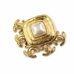 Coco Logos Brooch White Gold 94p Vintage Accessory 90118331