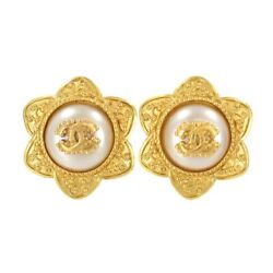Flower Earrings Gold White 96a Cc 96a Accessory Vintage 90119036
