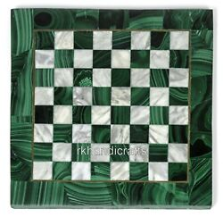 Malachite And Mop Gemstones Game Table Top Check Pattern Marble Coffee Table Top