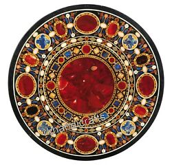 Round Shape Office Meeting Table Top Carnelian Stone Work Inlay Dining Table Top