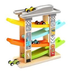 30xbaby Car Toy For 3-6 Years Old 4 Mini Car Wooden Track Ramp Racing Game