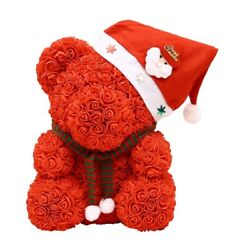 30x25cm Christmas Pe Bear Of Roses Bear Rose Flower Artificial New Year Gifts