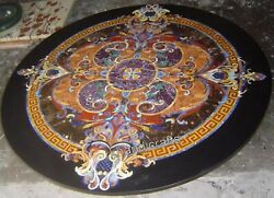Round Shape Dining Table Top With Antique Work Inlay Marble Hallway Table Top