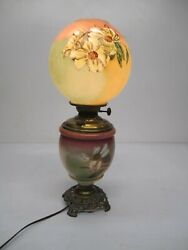 Antique Gwtw Hurricane Oil Table Lamp Electric 2 Light Floral Painted Brass