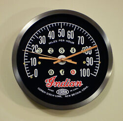 Indian Corbin Motorcycles Speedometer Style Wall Clock Retro 1930and039s Style.