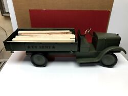 1920and039s Son-ny-sonny/keystone Toys Pressed Steel U.s. Army Stake Bed Truck