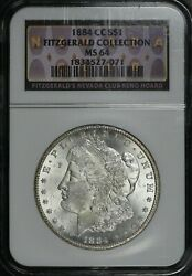 1884 Cc Morgan Silver Dollar Ngc Ms64 Fitzgerald Collection Hoard Pq