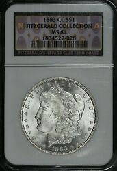 1883 Cc Morgan Silver Dollar Ngc Ms64 Fitzgerald Collection Hoard Pq
