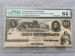 1860s Bank Of New England East Haddam Ct. 10 Ten Dollar Bill Pmg Certified