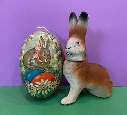 Paper Mache Easter Egg German Flocked Bunny Rabbit Chalkware Candy Container