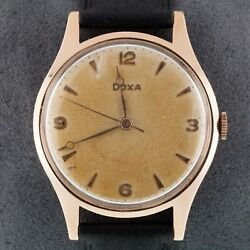 14k Rose Gold Doxa Hand-winding Menand039s Watch W/ Leather Band 11 1/2 140