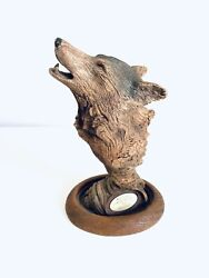 Rick Cain Wood Song Wolf Limited Edition Sculpture Statue Rare 44/2000