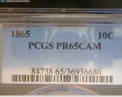 1865 Seated Liberty Dime Pcgs Proof 65 Cameo