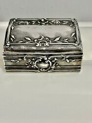 Antique Ornate Repousse - Sterling Silver - Pill / Snuff Trinket Box /case 60 Gr