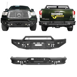 Combo Front Rear Bumper W/ Light And D-ring Steel For 2007-2013 Toyota Tundra