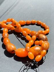 Vintage Genuine Natural Butterscotch Graduated Amber Bead Necklace 62 G