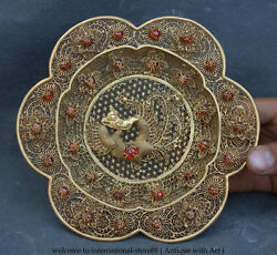 7old Chinese Palace Pure Silver 24k Gold Gilt Gem Phoenix Fruit Plate Tray Dish