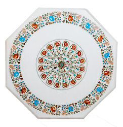 Multi Gemstones Inlaid Kitchen Table Top Elegant Marble Coffee Table For Home