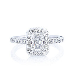 Excellent Radiant 1.35 Ct Real Diamond Wedding Ring Solid 14k White Gold Size 7