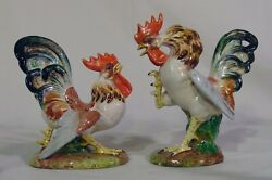 2 Scarce Ugo Zaccagnini Italy Fighting Rooster Chicken Figurines Hand Painted