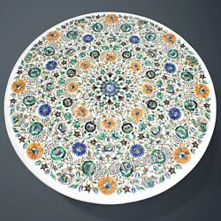 Round Multi Gemstones Work Dining Table Top White Marble Office Reception Table