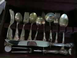 Chateau Rose By Alvin Sterling Silver Flatware Set For 8 Service 57 Pieces