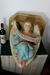 Antique Xl French Chalkware Religious Church Angel Wall Console Religious