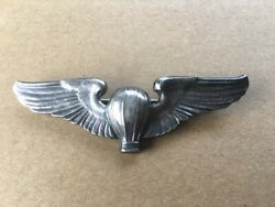 Ww2 Us Army Air Corps Balloon Pilot Wings. 3 Inch Meyer Sterling