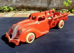 Antique Hubley Cast Iron 1930s Pontiac Stake Truck Red 2217 Rubber Wheels Nice